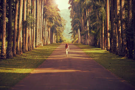 Photo for The girl walking down the road surrounded by palm trees to the mountains far away - Royalty Free Image