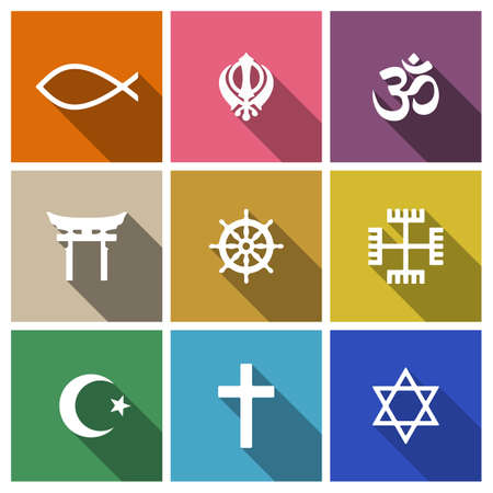 Illustration pour World religion symbols flat set with christian, Jewish, Islam etc - image libre de droit