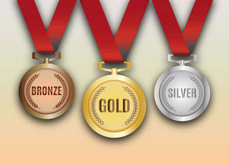 Illustration for Set of gold, silver and bronze medals vector illustration - Royalty Free Image