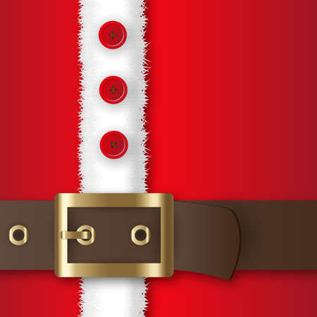 Illustrazione per Red santa claus suit, leather belt with gold buckle, white fur with buttons, concept for greeting or postal card, vector illustration - Immagini Royalty Free