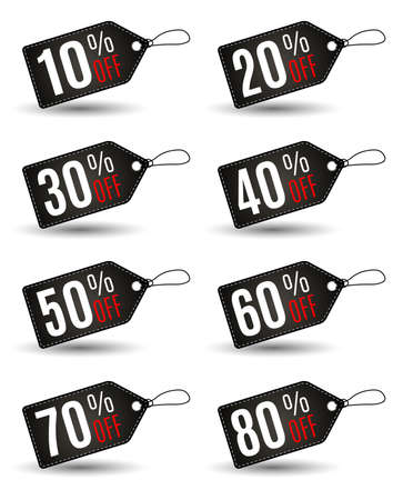 Rectangular Black Friday sales tag set with various percentage in black color wih white stitch at white background. Idea for seasonal sale promotion. vector illustration