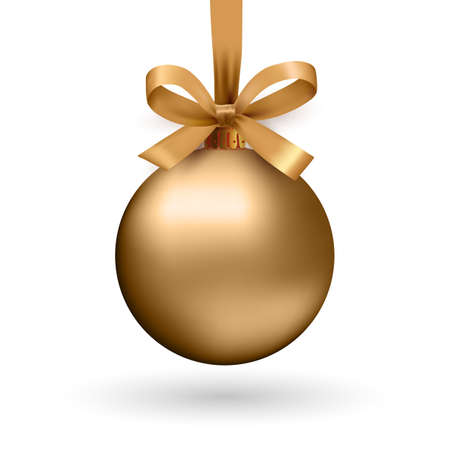 Illustration for Gold Christmas ball with ribbon and a bow, isolated on white background. Vector illustration. - Royalty Free Image
