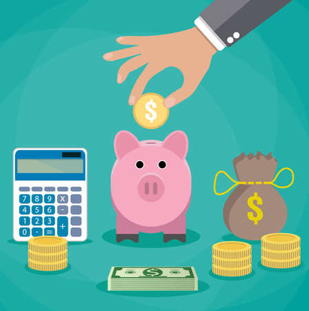 Illustration pour Money saving concept. Vector illustration in flat style design. Piggy bank, calculator and hand with coin. Finance symbols and icons. - image libre de droit