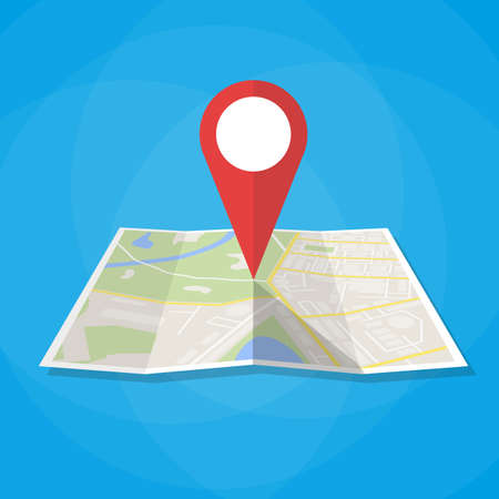 Illustration pour Navigation geolocation icon. Folded paper city map with red pin, vector illustration in flat design on blue background - image libre de droit
