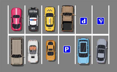 Illustration pour City parking lot with different cars - image libre de droit