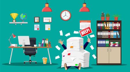 Ilustración de Businessman in pile of office papers - Imagen libre de derechos