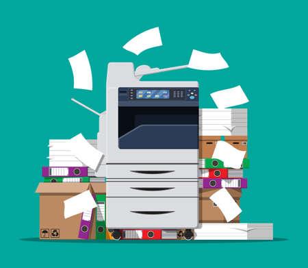 Illustration pour Pile of paper documents and printer - image libre de droit
