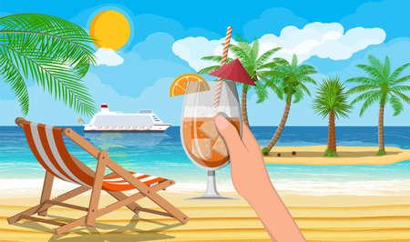 Illustration pour Landscape of palm tree on beach. - image libre de droit