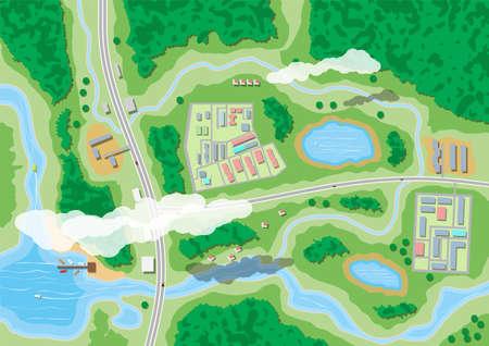 Ilustración de Suburban nature map, aerial view vector illustration. - Imagen libre de derechos