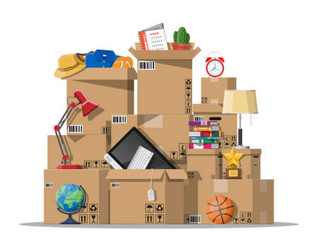 Ilustración de Moving to new house. Family relocated to new home. Paper cardboard boxes with various household thing. Package for transportation. Computer, lamp, clothes, books. Vector illustration in flat style - Imagen libre de derechos