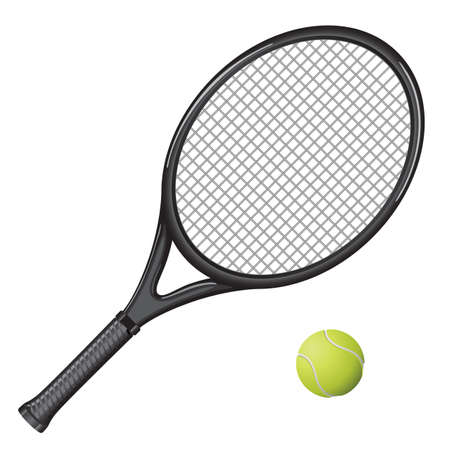 Isolated image of a tennis racket and ball