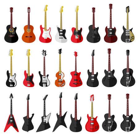 Illustration pour Set of isolated vintage guitars. Flat design - image libre de droit