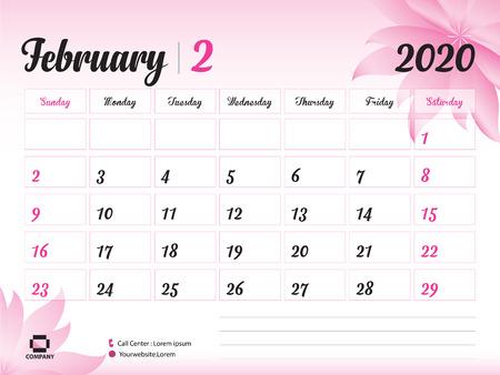 Ilustración de February 2020 Year Template, Calendar 2020, Desk Calendar Design, pink flower concept for cosmetics, beauty, spa, business; Week Start On Sunday, Planner, Stationery, Printing, Size : 8 x 6 inch - Imagen libre de derechos