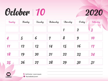 Illustration for October 2020 Year Template, Calendar 2020, Desk Calendar Design, pink flower concept for cosmetics, beauty, spa, business; Week Start On Sunday, Planner, Stationery, Printing, Size : 8 x 6 inch - Royalty Free Image