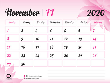 Illustration for November 2020 Year Template, Calendar 2020, Desk Calendar Design, pink flower concept for cosmetics, beauty, spa, business; Week Start On Sunday, Planner, Stationery, Printing, Size : 8 x 6 inch - Royalty Free Image