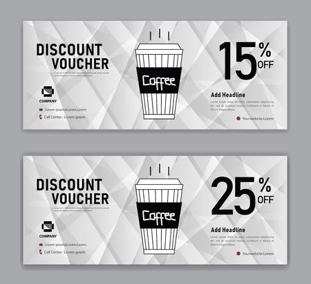 Ilustración de Coffee coupon discount template, Gift voucher, label, banner, advertisement, business vector eps10 - Imagen libre de derechos
