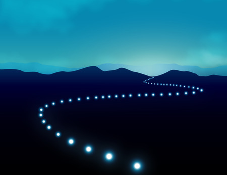 Foto de Hope Journey to Success Concept with row of light on road which give sense of direction    across mountain landscape amid darkness. - Imagen libre de derechos