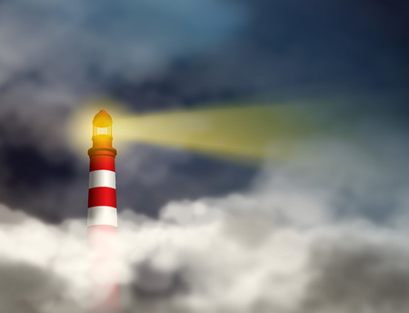 Photo pour Business vision concept. Guidance conquering adversity and looking for future concepts   represent by Lighthouse shining light beam into dark thick stormy clouds - image libre de droit