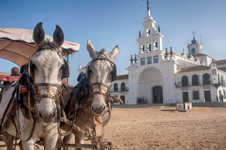 Photo pour Hermitage of El Rocio in the province of Huelva - image libre de droit