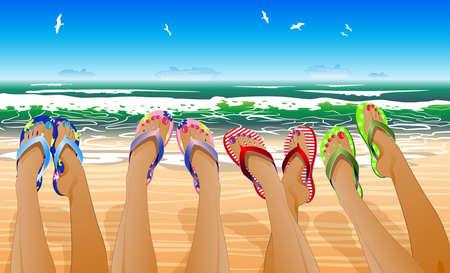Illustration pour Female legs in colored flip flops against the sunny beach  - image libre de droit