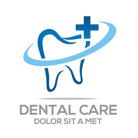 Illustration pour Logo Dental Healthy Care Tooth Protection Oral - image libre de droit