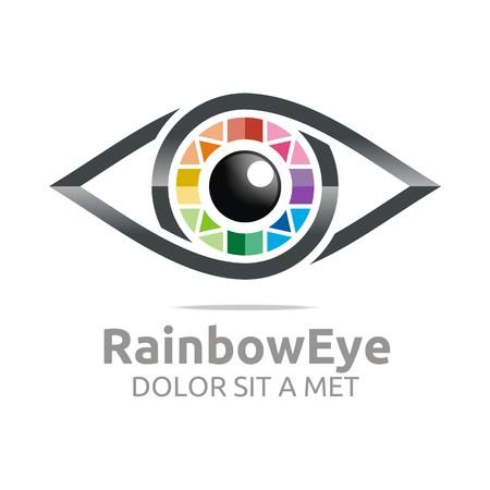 Illustration for Abstract logo rainbow eye circle eyeball symbol vector - Royalty Free Image
