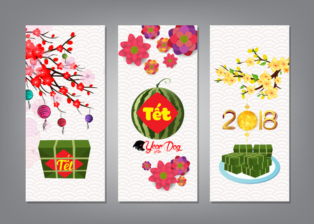 Ilustración de Cooked square glutinous rice cake and blossom, banner. Vietnamese new year. (Translation T?t: Lunar new year) - Imagen libre de derechos