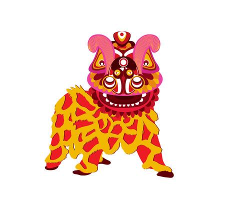 Ilustración de Chinese new year celebration and Lion Dance on a white background. - Imagen libre de derechos