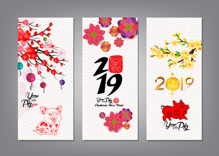 Illustration pour Vertical Hand Drawn Banners Set with Chinese New Year - image libre de droit