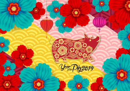 Illustration pour 2019 Chinese New Year Paper Cutting Year of Pig Vector Design for your greetings card, flyers, invitation, posters, brochure, banners, calendar - image libre de droit