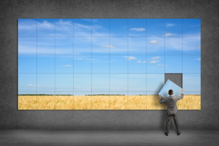 Photo pour businessman collects the image of a wheat field and blue sky - image libre de droit