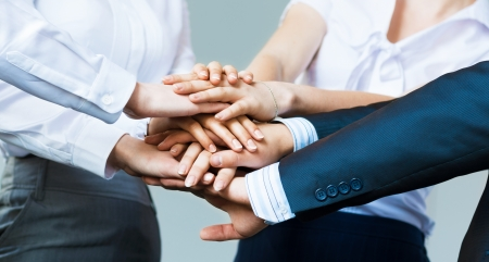 Photo pour concept of teamwork  business people joined hands - image libre de droit