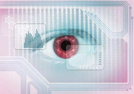 Foto de Close up of human eye on digital binary background - Imagen libre de derechos