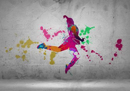 Foto de Image with color silhouette of dancer on gray wall - Imagen libre de derechos