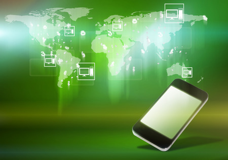 Mobile phone and world map digital image on color background