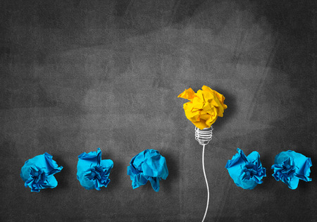 Foto per Inspiration concept with crumpled paper light bulb as good idea - Immagine Royalty Free