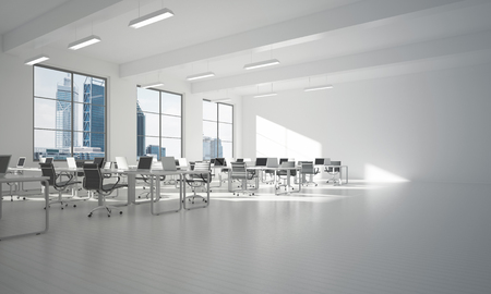 Foto de Modern empty elegant office with windows and workplaces. Mixed media - Imagen libre de derechos