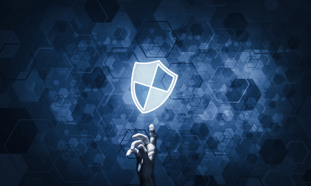 Photo pour Person touching shield glowing icon as concept about security and protection - image libre de droit