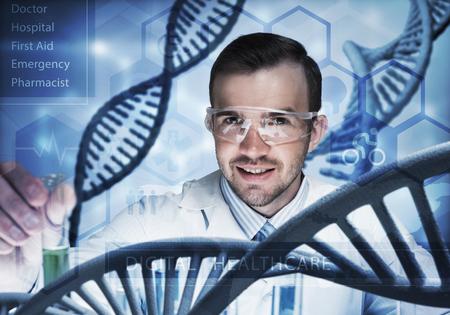 Foto de Handsome scientist making research over dna molecule structure - Imagen libre de derechos