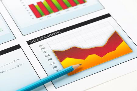 Foto de Charts and graphs of sales as symbol of successful corporate business - Imagen libre de derechos