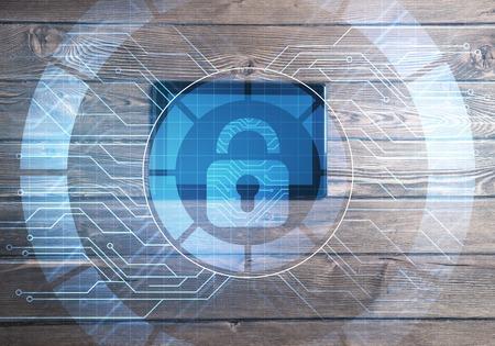 Foto de Top view of tablet pc on wooden table and media interface - Imagen libre de derechos