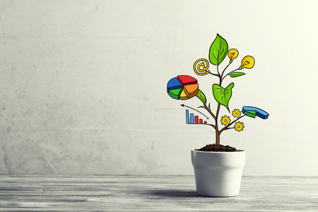 Photo for Concept of successful business plan and strategy presented by growing tree - Royalty Free Image