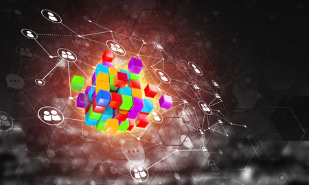 Foto de Conceptual background image with cube figure and social connection lines. 3d rendering - Imagen libre de derechos