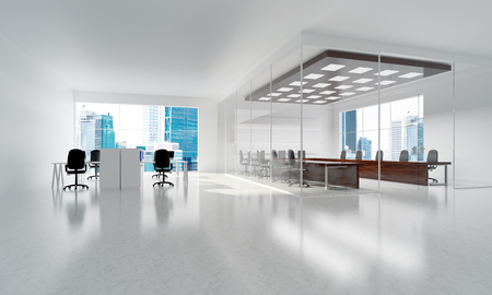 Photo for Modern empty elegant office with windows and workplaces. Mixed media - Royalty Free Image