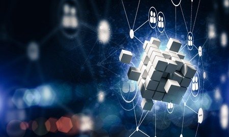 Foto de Conceptual background image with cube figure and social connection lines. 3d rendering - Imagen libre de derechos