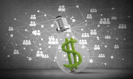 Photo for Lightbulb with green dollar symbol inside placed against sketched social network system on grey wall. 3D rendering. - Royalty Free Image