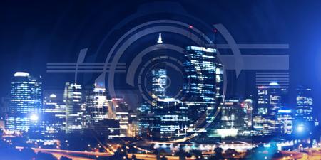 Foto de Background conceptual image with virtual interface against night glowing city - Imagen libre de derechos