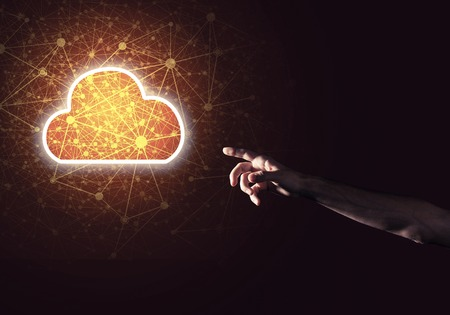 Photo pour Man hand holding cloud computing concept in palm - image libre de droit