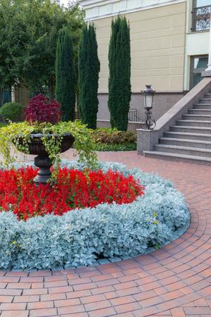 Foto de a delightful and well-kept flowerbed near the building surrounded by stones - Imagen libre de derechos