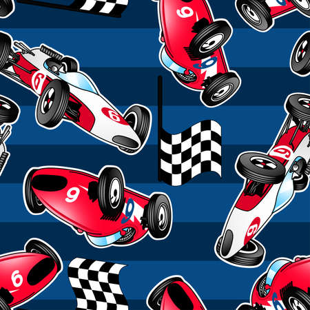 Racing cars with blue stripes in a seamless pattern. mural